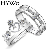 Wholesale Prince Weddings - HYWo Brands 1 Pair Silver Plated Prince Princess Crown CZ Crystal Promise Ring Set Pair for Lovers Couple Rings for Women Men
