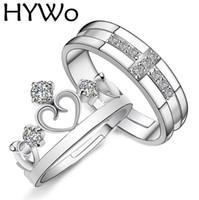 ring lovers man venda por atacado-HYWo Marcas 1 Par Prateado Príncipe Princesa Coroa CZ Cristal Promise Anel Set Par para Os Amantes Casal Anéis para Mulheres Homens