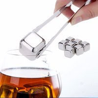 Wholesale Cube Holder - New Fashion Stainless Steel Whisky Ice Cubes Bar KTV Supplies Magic Wiskey Wine Beer cooler 3 Kinds Rocks Ice Coolers Holder Boxed