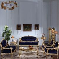muebles de sala de estar de lujo al por mayor-Muebles de salón clásicos de gama alta. Sofá clásico europeo con dorado dorado. Muebles de lujo italianos.