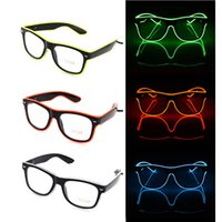 Горячие продажи Простые el очки El Wire Fashion Neon LED Light Up Shutter Shaped Glow Солнцезащитные очки Rave Costume Party DJ Bright SunGlasses