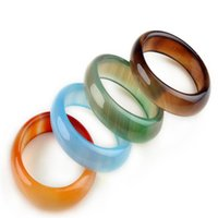 Wholesale white jade wedding bands - Jewelry Charm Band Lady Women Multicolour Natural Agate Jade Finger Ring Charm Band Jewelry Wholesale Mixed Lots Stone ring