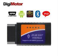 lectores de código obd2 al por mayor-Precio bajo ELM 327 OBD2 lector de código ELM 327 Bluetooth Scan Tool Hardware V2.1 Soporte 7 OBDII Protocolos ELM327 para PC con Android