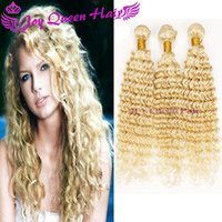 Wholesale Extension Curly Blonde - Natural Blonde Human hair Weave European Hair extension 613# Brazilian Malaysian Peruvian Blonde Curly hair 3pcs hair bundles double weft