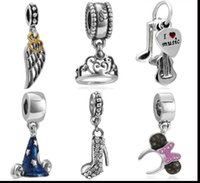 Wholesale pc Silver European Charms Bead Dangle Pendant Fit Snake Chain Pandora Bracelet Fashion DIY Jewelry Christmas Gifts