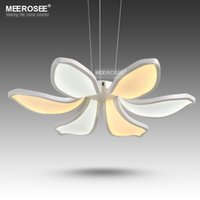Wholesale Flowers Contemporary - Modern LED pendant lamp White Acrylic 6 petals LED suspension light fixture for Living room shopping mall LED flower drop lustre