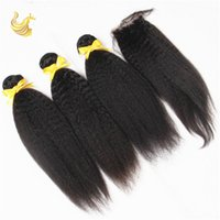 Wholesale Cheap Wigs Weaves - Virgin Kinky Straight Human Hair Weaves Cheap Brazilian Malaysian Dyeable Full Head Hair Extensions Best Human Hair Wigs 4pcs lot KS-048