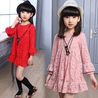 Wholesale Kids Crochet Clothes Wholesale - 3 Colors Spring Kids Girls Crochet Full Lace Embroidery Tutu Dresses Baby Girl Ruffle Princess Party Dress Children's Fashion Clothing
