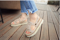 Wholesale Muffin Shoes - summer sandals shoes female students a thick bottom all-match muffin lady shoes fringed Rome shoes tide
