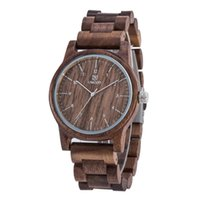 Wholesale Walnut Rounds - Luxury UWOOD Brand Fashion Perfect Design Black walnut color Sandal Men Wooden Wristwatch Wood Watch For Men Gift Free Shipping