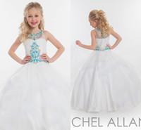 Wholesale Dresess Girls - RACHEL ALLAN New Girl'S Pageant Dresses Beaded Top Tulle Floor Length Little Flower Girl Dresses Pageant Girl's Dresess HY00754