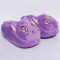 Wholesale Cartoon Slippers Women - Wholesale- Anime cartoon Sailor Moon Luna cat Plush Slipper warm Indoor shoes winter 11inch