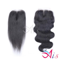 cheveux vierges de 7e classe achat en gros de-Grade 7A Fermeture de Dentelle 4 * 4 Brésilienne Vierge Cheveux Naturel 1B Silky Top Fermetures Dyeable AiS Cheveux Extensions