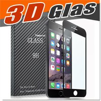Wholesale Iphone Coloured Screen - 3D Curved For IPhone 7 6 6S Tempered Glass Full Cover Glass iPhone 6S Plus Screen Protector primary colour with Retail Package