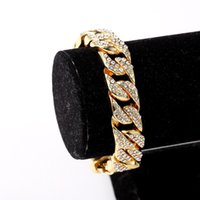 Wholesale Luxury Jewelry Boxes Men - 2016 Brand Luxury Trendy Mens Iced Out Gold Bracelet Hip Hop Rick Ross 8.26inch Women Men Jewelry Birthday Gift with Box