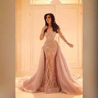 Wholesale Evening Dresses Full Skirt - 2018 Long Sleeved Lace Evening Dresses with Organza Over Skirt Mermaid Illusion Slit Skirt and Sheer Full Sleeves