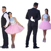 Wholesale Tulle Back Cocktail Dress - 2017 New Halter Homecoming Dresses Silver Pink Short Mini Cocktail Dresses Back Bow Sleeveless Formal Party Gowns Custom Made