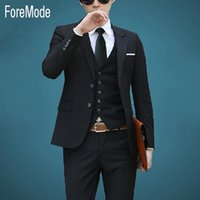 Wholesale Interview Clothes - Wholesale-ForeMode hot 2016 suit male Korean cultivating interview work clothes groom wedding dress Wedding Suit