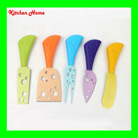 Wholesale painting knives set - 5 Pcs Set Non Stick Painted Cheese Knife Set With PP Handle Cheese Forks Spatula Butter Knife with Coating MUti-color Cheese Cutter