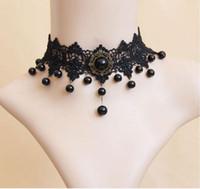 collares victorianos al por mayor-Collar de gargantilla de tatuaje de borla de cristal victoriano gótico Collar de gargantilla de encaje negro Joyería de boda de mujer vintage C503 Regalo de Navidad