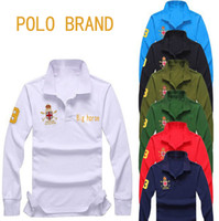 Wholesale Long Sleeve Polyester Polo Shirts - Brand Famous Big Horse Men Polo Shirt Long Sleeve Solid Polo Shirts Camisa Polos Masculina Casual Polyester Tops Tees Shirts Plus Size M-4XL