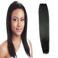 Wholesale jet black brazilian human hair resale online - Tape In Human Hair Extensions Jet Black Straight Virgin Brazilian Tape Extensions Adhesive Skin Weft Hair Extensions