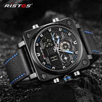 Wholesale Military Clock Time - Chronograph Men Multifunction Sports Watches army Military Leather Digital Analog Fashion Wristwatch square dial backlight quartz clock