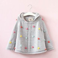 Wholesale Children Girl Hooded Sweater - 2017 Autumn New Baby Girls Poncho Pom Pom Knitting sweater long sleeve hooded cloak Children Clothes E317368
