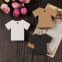Wholesale Clothes Cards Price Tags - 7X5.5cm Kraft Paper Clothes Price Hang Tags Wedding Party DIY Cards Xmas Gift Wrap Label Bookmark Blank Hand Luggage Tag