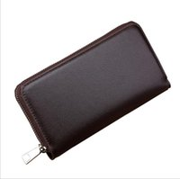 Wholesale Business Card Custom - European and American business man purse custom hand purse Men zipper wallet high-capacity PU leather wallet