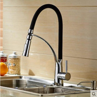 Vente en gros - Hot Sale Black Chrome Finish Kitchen Faucet Mixer Pull Out Tap Deck Mounted NOUVEAU