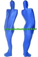 blauer lycra-anzug großhandel-New Blue Lycra Spandex Mumienanzug Kostüme Mit internen Arm Ärmeln Unisex Schlafsäcke Mumien Kostüme Outfit Halloween Cosplay Anzug P019