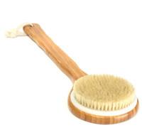 badbürsten-rückwäscher großhandel-Holzbad Dusche Körper Rückenbürste Borste Langstiel Spa Scrubber Seifenreiniger Peeling Bad Werkzeuge