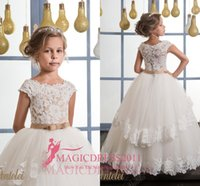 Wholesale Baby Girls Button Dress - Princess Flower Girl Dresses for Vintage Wedding Ivory Ball Gown Short Sleeve Covered Button 2016 Child Communion Dress Baby Birthday Gowns