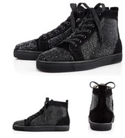 Wholesale Birthday Gift shoes black suede and black crystals Strass red bottom Men s Flat sneakers high top luxury brand shoes