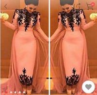 Wholesale Dresses Occasional - 2017 High Neck Elegant Black Lace Appliques Evening Dresses Dubai Middle East Formal Party Gowns Special Occasional Dress