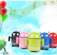 Wholesale Mp3 Player Android Robot - Mini Android Robot Music Speaker Support U-disk TF FM MP3 Player for Cellphones Tablet PC Protable Speaker