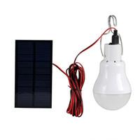 ampoules solaires d'intérieur achat en gros de-Système d'éclairage à DEL alimenté solaire extérieur / intérieur Lampe 1 ampoule Panneau solaire Faible puissance Camp Nightfair Voyage Utilisé 5-6heures Lampes de sécurité