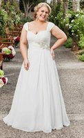 Wholesale Simple Vintage Line Wedding - Vintage 2015 White Plus Size Wedding Dress Summer Beading Women Simple Chiffon A-line Spring Quinceanera Bridal Wedding Gowns