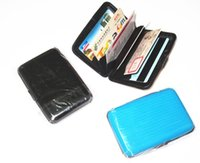 Wholesale Sky Scan - Wholesale- 11*7.5*2cm Womens Mens Aluminum Metal Wallet Business ID Credit Card Case Holder Anti RFID Scanning New Hot Selling Free Shipping