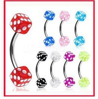 Wholesale Dice Eyebrow - 1.2*8*3 3 Eyebrow ring Body Jewelry piercing jewelry Fashion trend Bending bar mahjong dice eyebrow nail ring lip ring nose ring tongue ring
