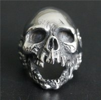 Wholesale Skull 316l - Popular Ring 316L Stainless Steel Jewelry Ring Cool Mens Biker Ghost Walking Skull Ring Death Skull Ring