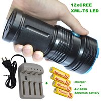 Wholesale Strong Led Battery - 12T6 20000 LM led flashlight portable lamp Outdoor Hunting LED Flashlight strong torch Hard+4*18650 battery+charger