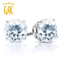 Wholesale Solid Sterling Silver Jewelry Ct Round mm Sky Blue Natural Aquamarine Women Stud Earrings New GemStoneKing