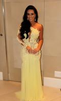 vestido amarillo kim al por mayor-2018 superventas un hombro gasa Kim Kardashian vestido amarillo baile de gala formal vestidos de noche sirena vestidos largos de celebridades