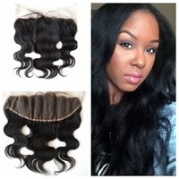 Wholesale brazilian human hair body curl for sale - Group buy Best Brazilian Human lace Frontal Body Wave Natural Color Can Be Straightened and Curled Real Human lace Frontal closure G EASY hair
