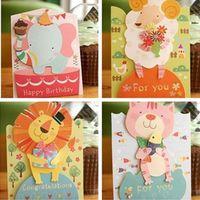 sevimli kart tasarımları toptan satış-12 Adet Karışım Tasarımları Cute Animals Çocuk Kutuları Küçük Zarf, Bebek Duvarı Noel Kartları ile Doğum Günü Tebrik Kartı