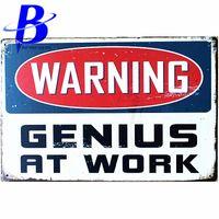Wholesale Vintage Metal Sign Letters - Wholesale- Placas Cerveza WARNING At Work Letters Vintage Metal Signs Garage Coffee Store Bar Metal Home Decoration Crafts Metal Plate Sign