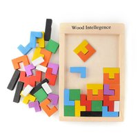 Wholesale Colorful Wooden Tangram Brain Teaser Puzzle Toys Tetris Game Preschool Magination Intellectual Educational Kid Toy Children Gift