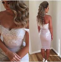 Wholesale Lace Clubbing Dresses - 2016 knees dresses for women off shoulder lace applique cheap prom dresses button backless sheath satin short dresses sexy club party